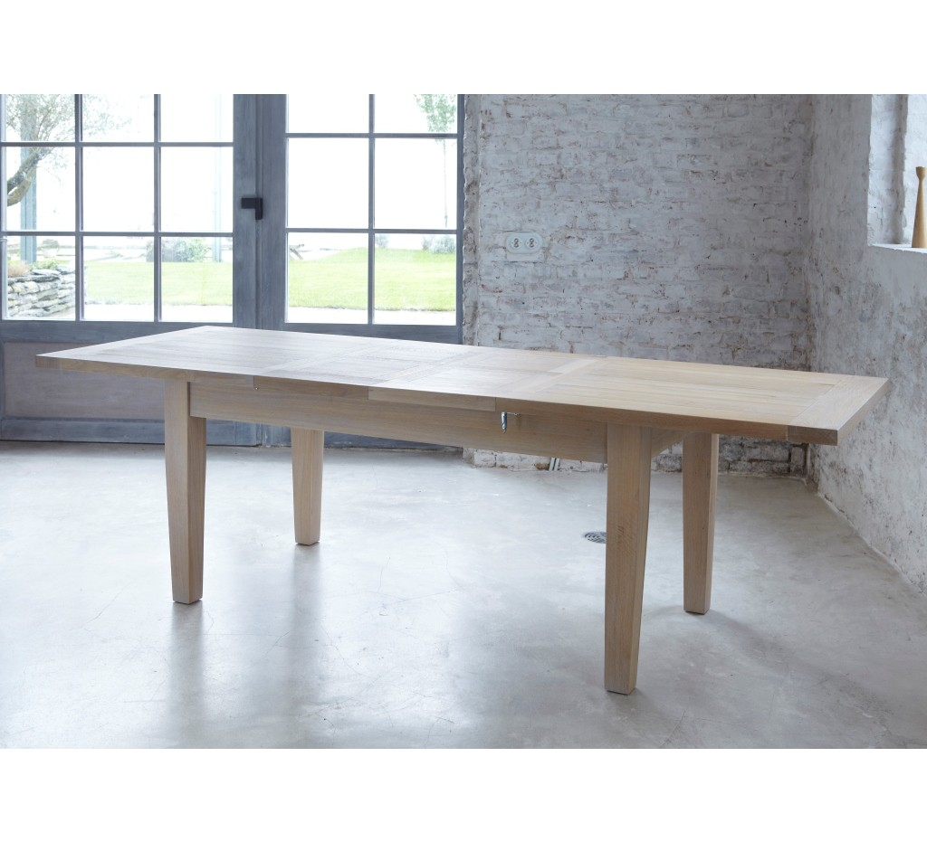 Table ch ne massif avec allonges bella 180cm 3826 for Table en chene avec rallonge