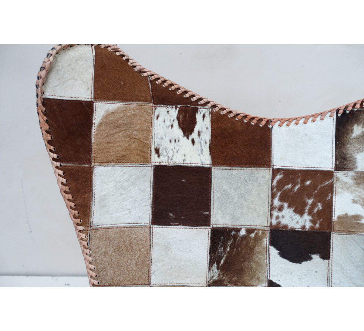"""Fauteuil butterfly cuir patchwork marron """" grand ouest""""   7008"""