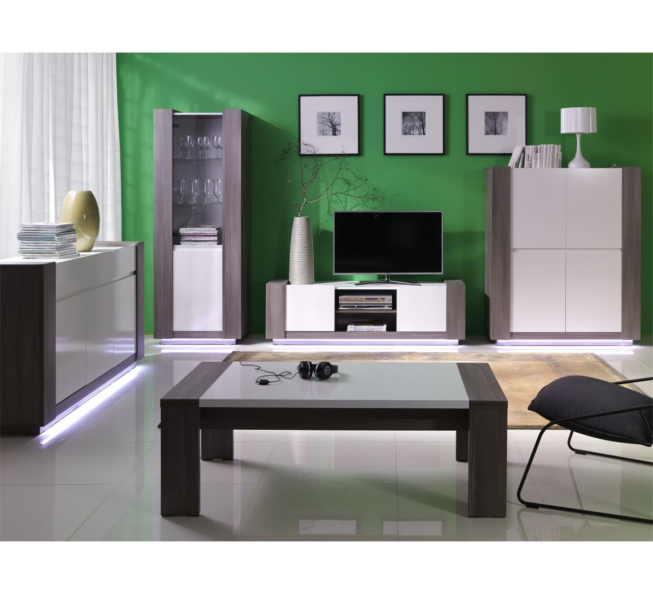 meuble de tv blanc et gris nuance 6717. Black Bedroom Furniture Sets. Home Design Ideas