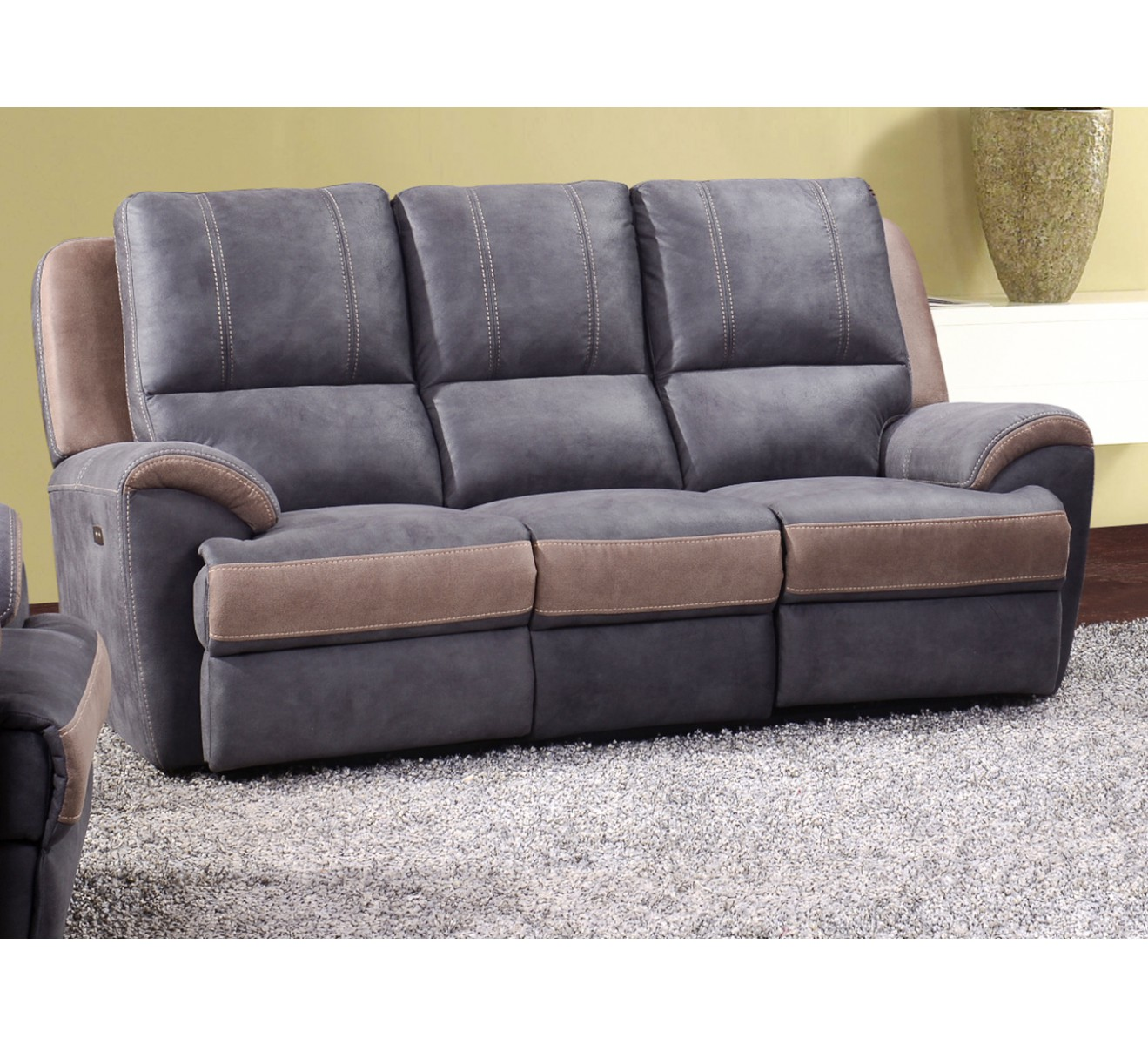 Canap relax lectrique gris 3 places ax relax 39 6810 for Canape electrique