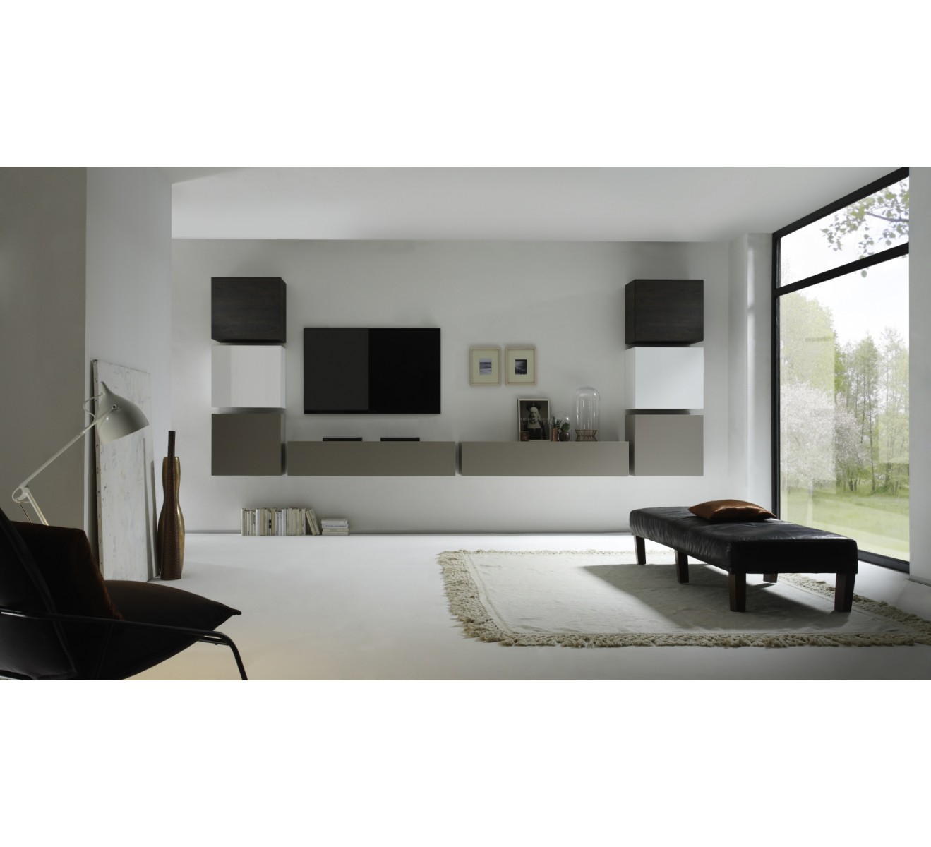 Ensemble meuble tv suspendus new box 6418 for Meuble house