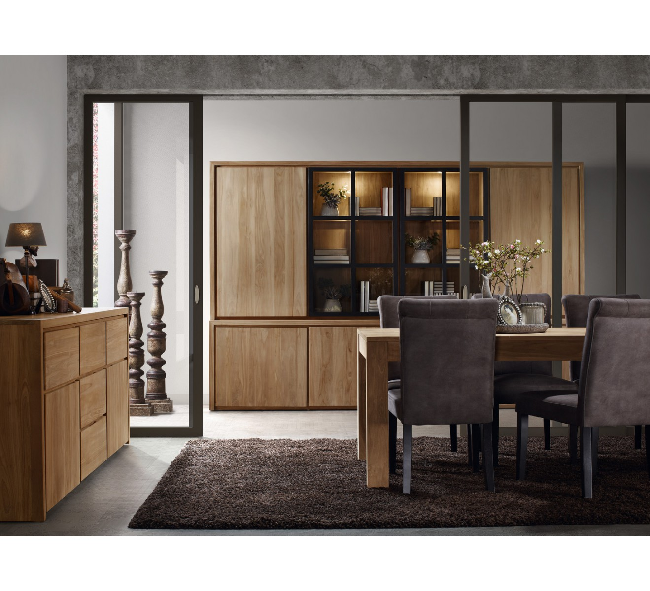biblioth que teck massif contemporaine groove 6590. Black Bedroom Furniture Sets. Home Design Ideas