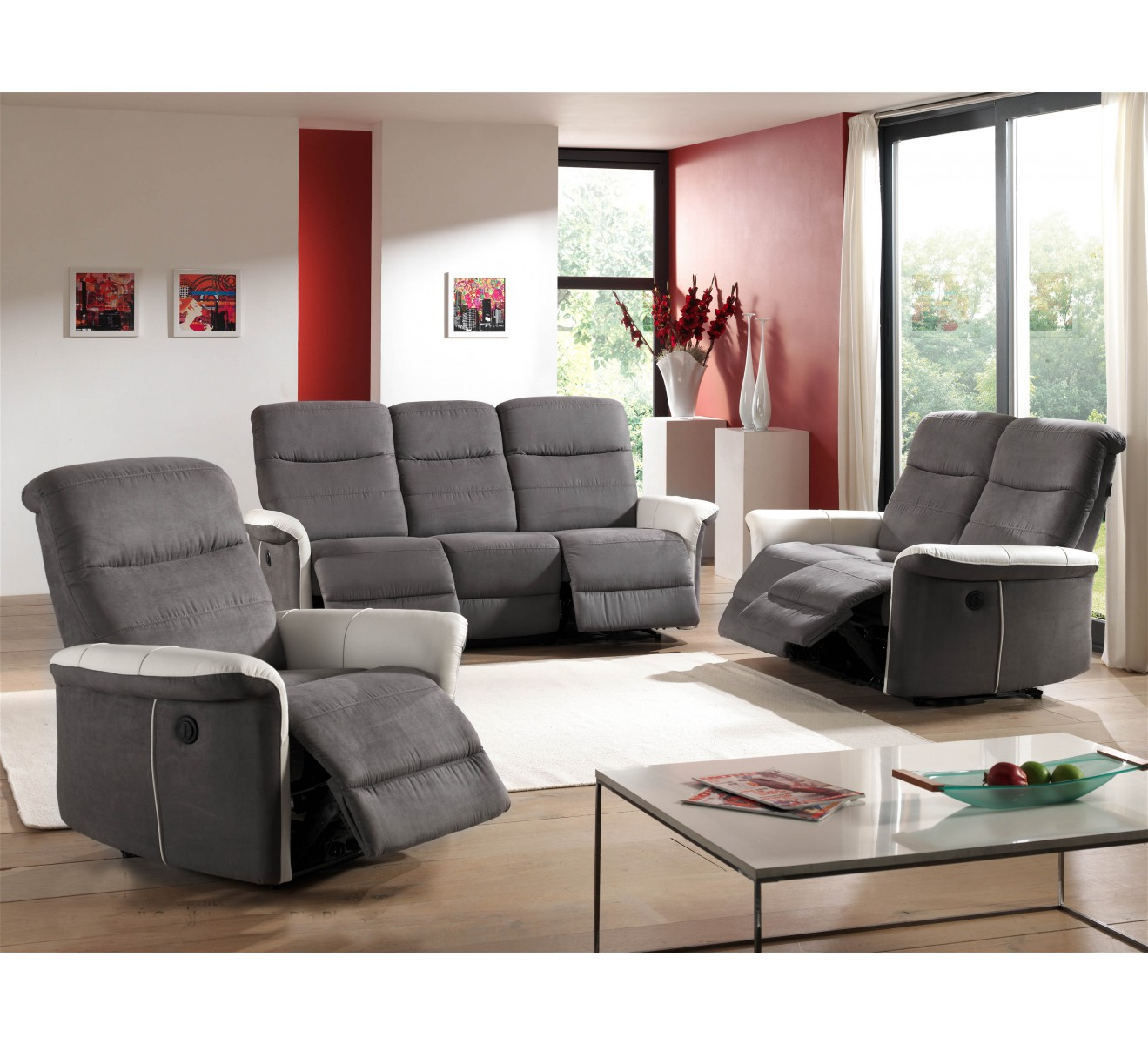 salon complet relax lectrique canap 2 fauteuils gris et cuir gris. Black Bedroom Furniture Sets. Home Design Ideas
