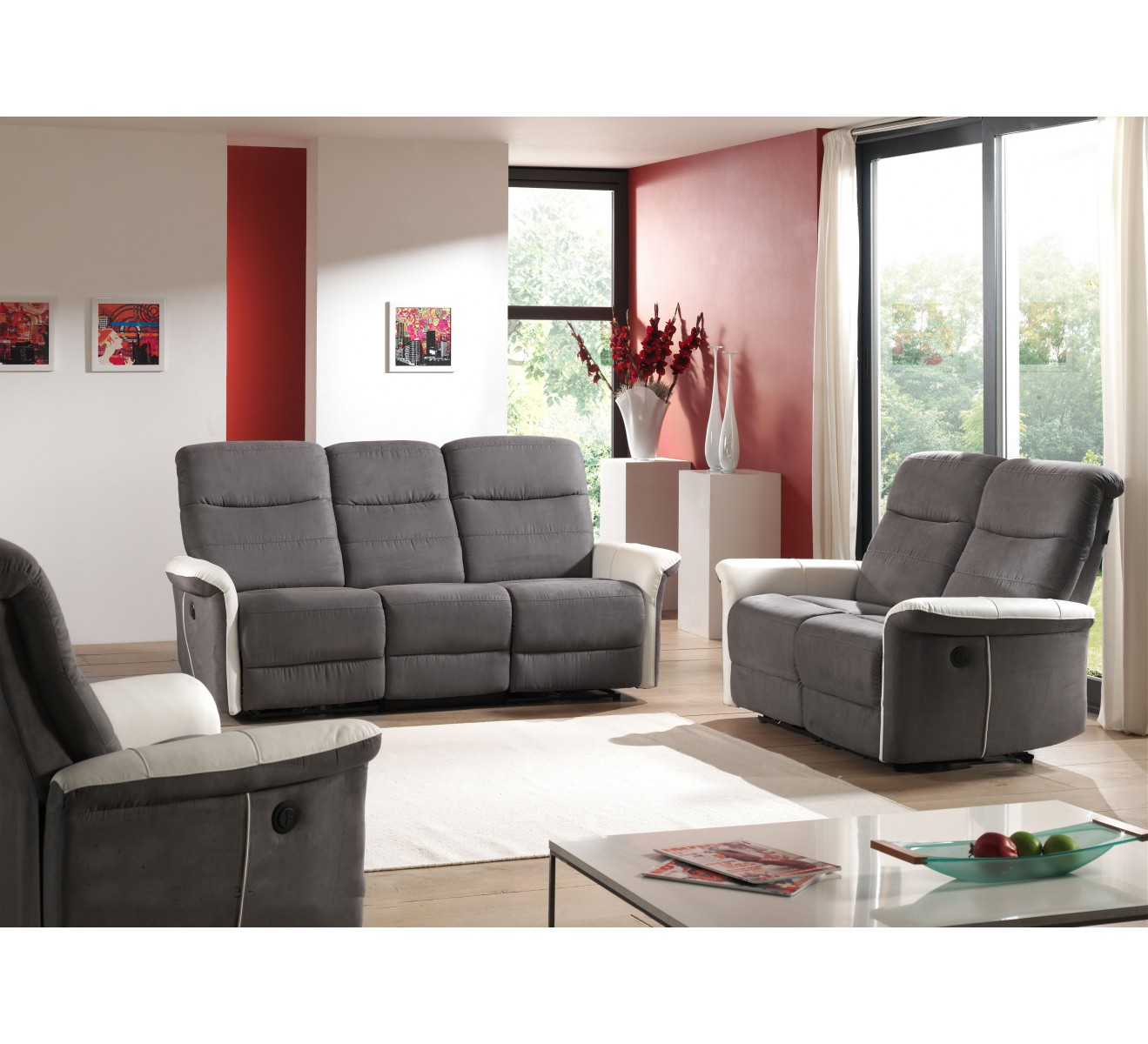 salon complet relax lectrique canap 2 fauteuils gris. Black Bedroom Furniture Sets. Home Design Ideas