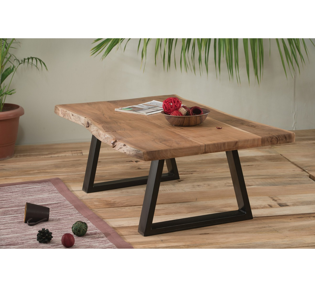 Table basse naturel m tal et bois 39 zen 39 for Table basse fer et bois