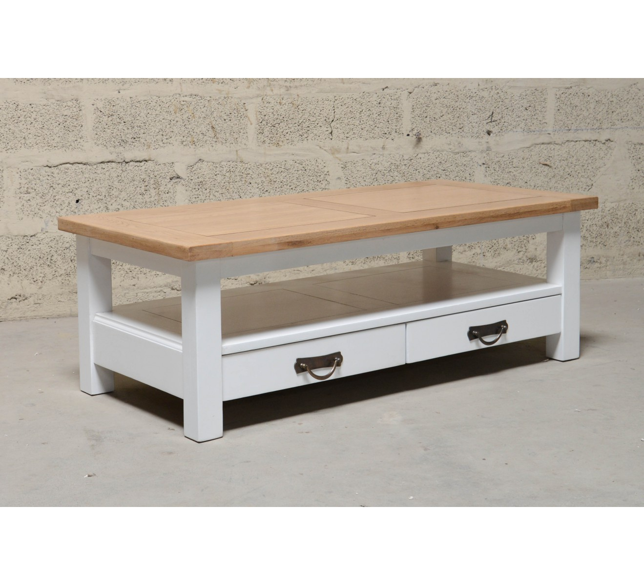 Table basse bi couleur avec tiroirs rectangulaire ch ne massif destockage - Destockage table basse ...