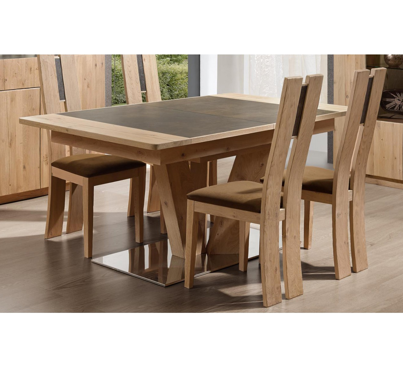 Table pied central carr ou rectangulaire en ch ne et for Table rectangulaire bois avec allonges