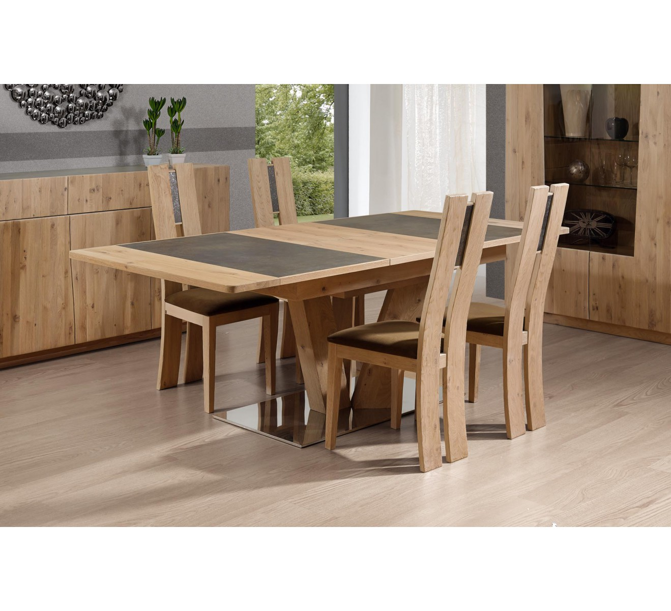 Table pied central carr ou rectangulaire en ch ne et for Table un pied