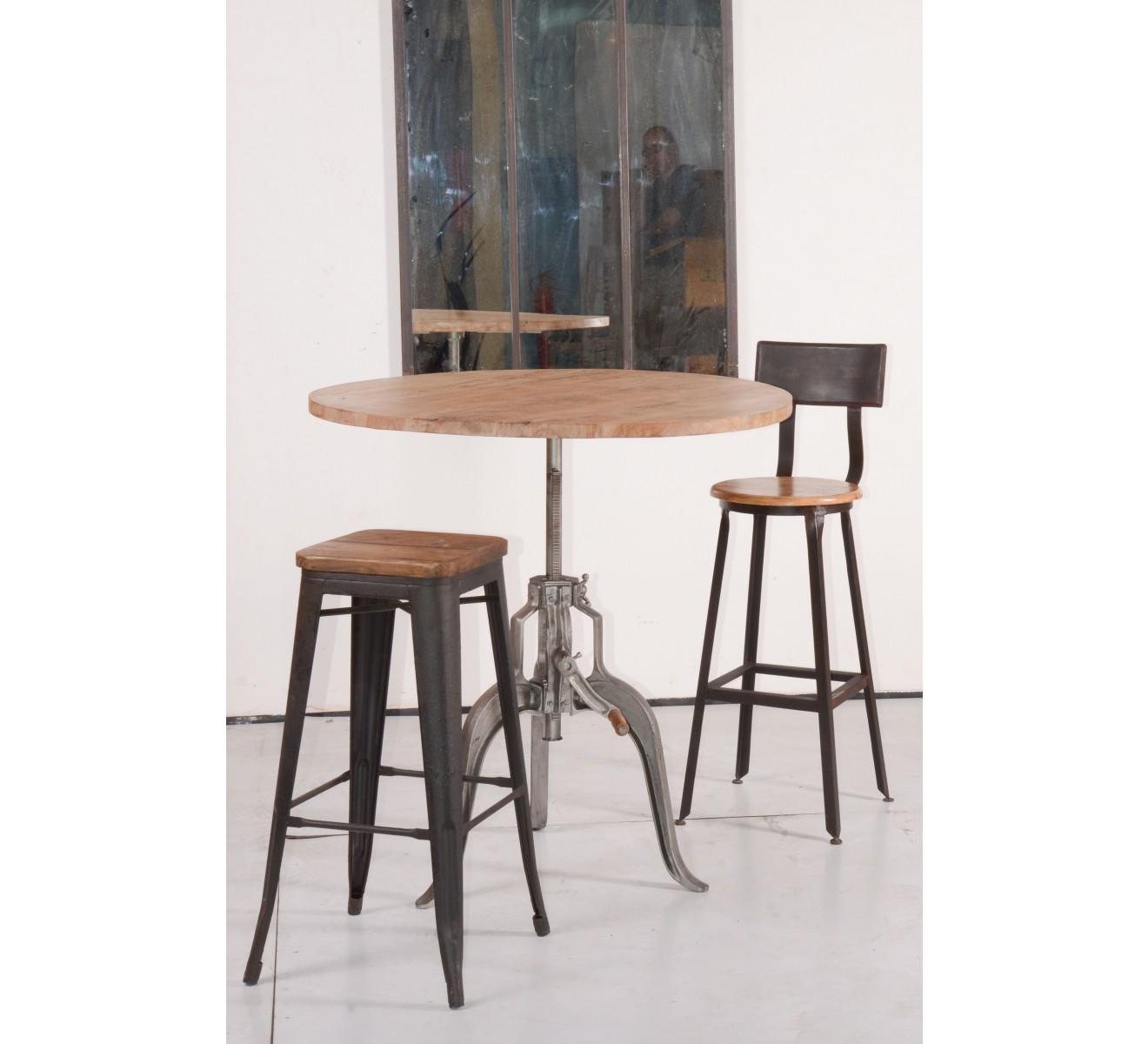 Table ronde r haussable atelier grey 6274 - Table rehaussable but ...