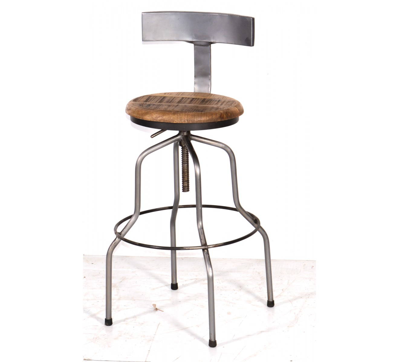 tabouret de bar m tal et bois industriel r glable 39 atelier grey 39 6949. Black Bedroom Furniture Sets. Home Design Ideas