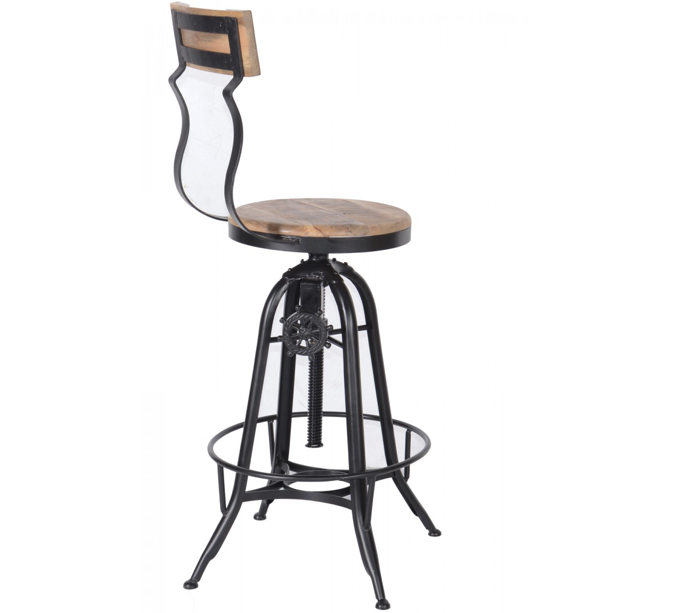 tabouret de bar industriel r glable avec dossier 39 atelier grey 39 6953. Black Bedroom Furniture Sets. Home Design Ideas