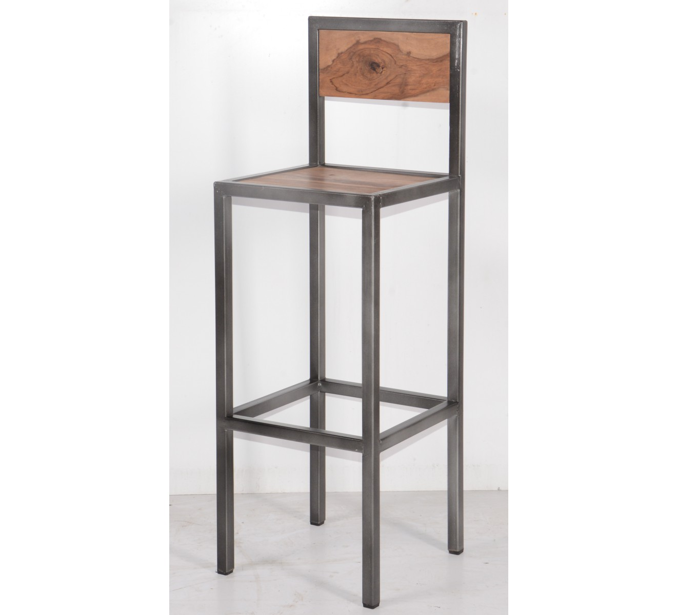 Tabouret de bar industriel en m tal et bois 39 industry 6748 - Chaise de bar industriel ...