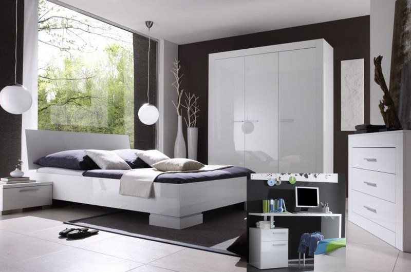 chambre compl te moderne laqu blanc lys. Black Bedroom Furniture Sets. Home Design Ideas