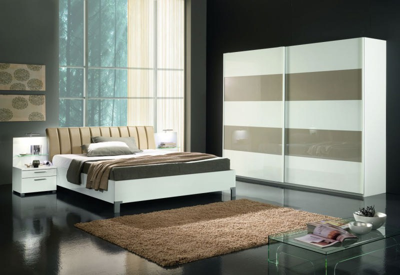 Chambre coucher moderne blanche sable 160x200 l a for Chambre a coucher 160x200