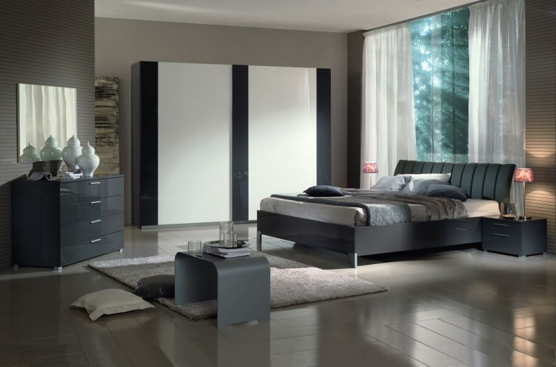 Chambre coucher moderne grise 180x200 sophie - Chambre coucher moderne ...