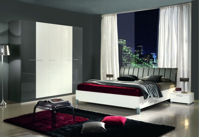 Chambre coucher moderne blanche grise 160x200 lou - Chambre coucher moderne ...