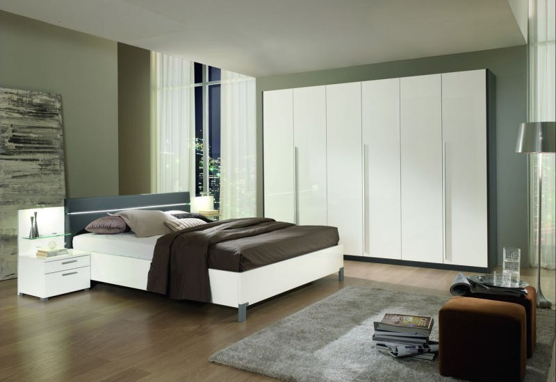 Chambre coucher moderne blanche grise 180x200 romane for Meuble chambre moderne