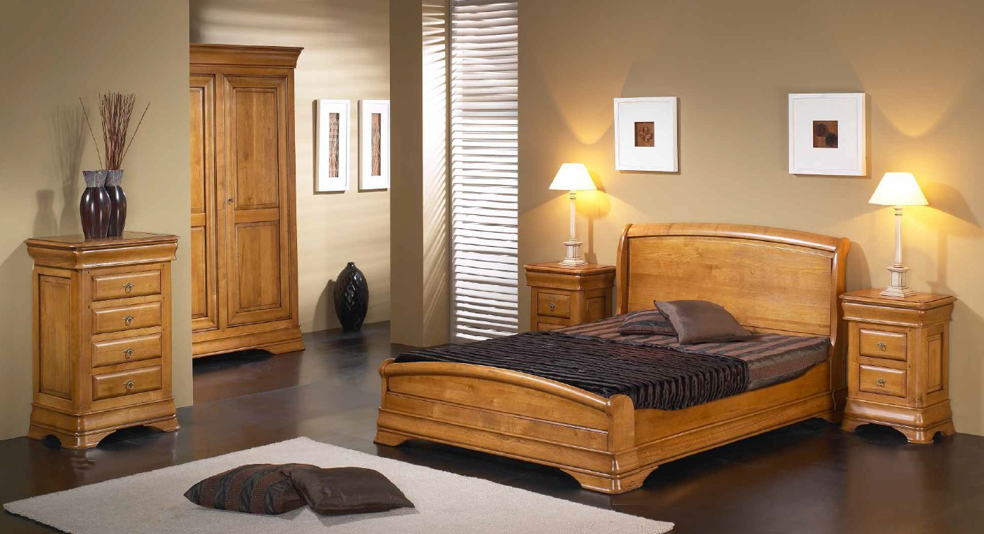 lit louis philippe 140x200cm merisier massif jeanne. Black Bedroom Furniture Sets. Home Design Ideas