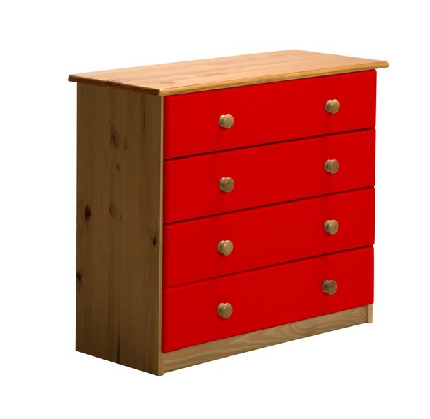 commode pin massif 4 tiroirs rouge jumbo. Black Bedroom Furniture Sets. Home Design Ideas