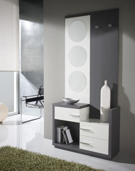 meuble d 39 entr e miroir rond allan. Black Bedroom Furniture Sets. Home Design Ideas