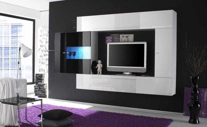 meuble t l vision moderne noir blanc juno. Black Bedroom Furniture Sets. Home Design Ideas