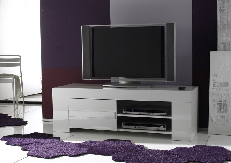 Petit meuble t l moderne laqu blanc avril for Meuble tv angle moderne