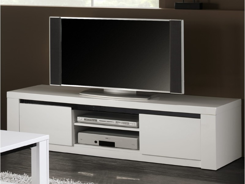 meuble tv laqu blanc et noir eden. Black Bedroom Furniture Sets. Home Design Ideas