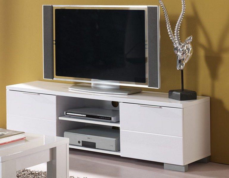 Meuble tv laqu blanc bloom for Meuble qui cache la tv