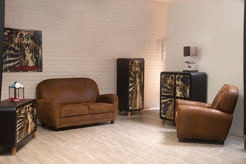canap 2 places imitation vieux cuir club. Black Bedroom Furniture Sets. Home Design Ideas