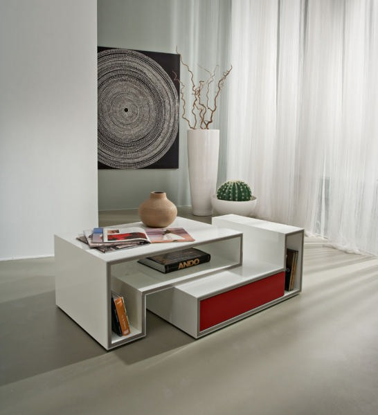 Table Basse Blanche Moderne 1 Tiroir Rouge Cube