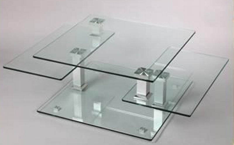 table basse carr e moderne verre cristal. Black Bedroom Furniture Sets. Home Design Ideas