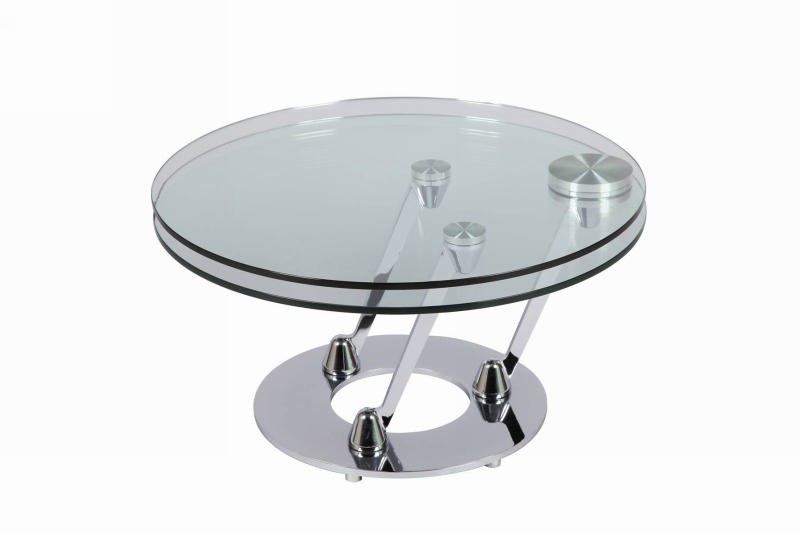 Table basse ronde moderne verre cristal - Table de salon ronde en verre ...