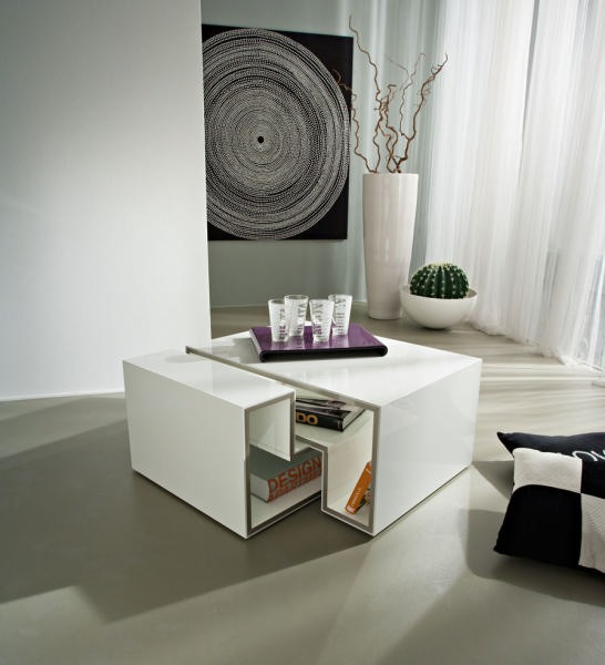 table basse moderne blanche cube. Black Bedroom Furniture Sets. Home Design Ideas