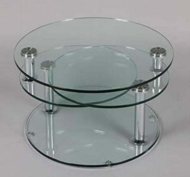 Table basse ronde 3 plateaux de verre cristal - Table basse de salon en verre modulable ...