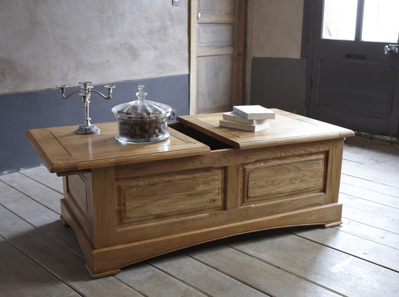 Table basse bar ch ne massif antique - Table de salon avec rangement ...