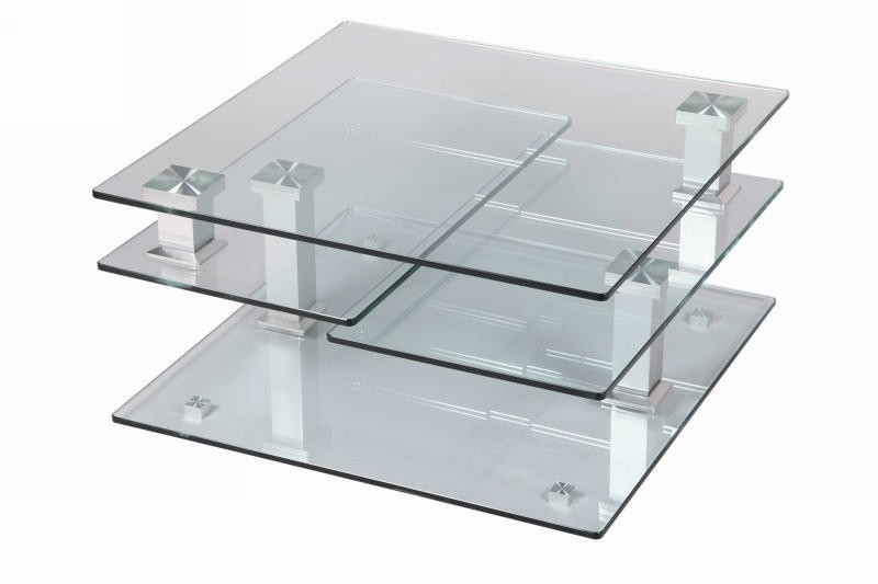 Table basse carr e moderne verre cristal - Table basse de salon en verre modulable ...