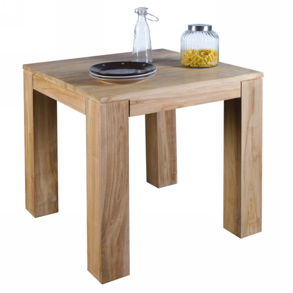 Table carr e teck massif bross born o casita 80cm - Table carree pas cher ...