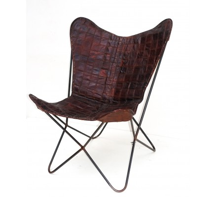 """Fauteuil Butterfly cuir marron """" Grand Ouest"""""""