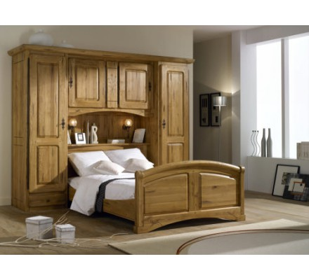 lit pont en ch ne massif 160 cm 39 auvergnate 39. Black Bedroom Furniture Sets. Home Design Ideas
