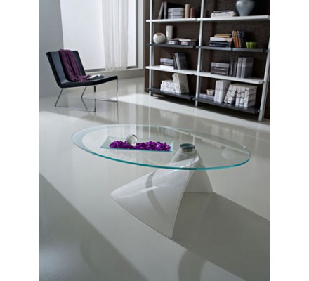 "Table basse moderne verre blanche ""Paolo"""