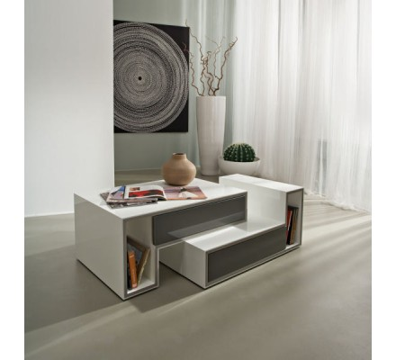 "Table basse blanche moderne 2 tiroirs gris ""Cube"""