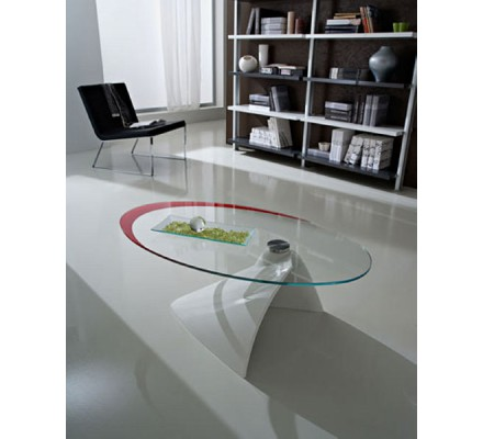 """Table basse moderne verre blanche/rouge """"Paolo"""""""