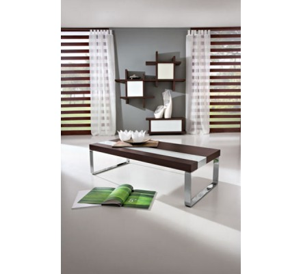 """Table basse rectangulaire marron/blanche """"Yvons"""" 110cm"""