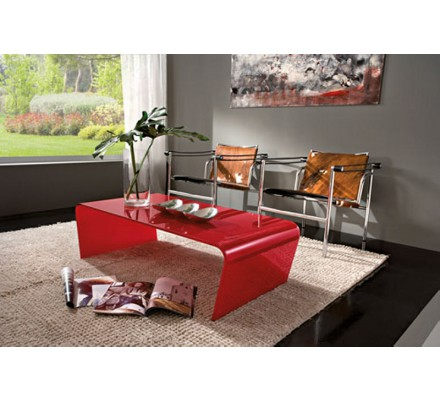 """Table basse verre rouge """"Camille"""" 110cm"""