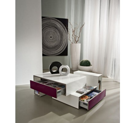 """Table basse blanche moderne 2 tiroirs gris""""Cube"""""""