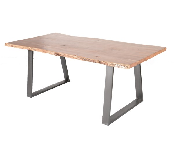 Table pied m tal et bois massif naturel 39 zen 39 6942 for Table bois pied metal