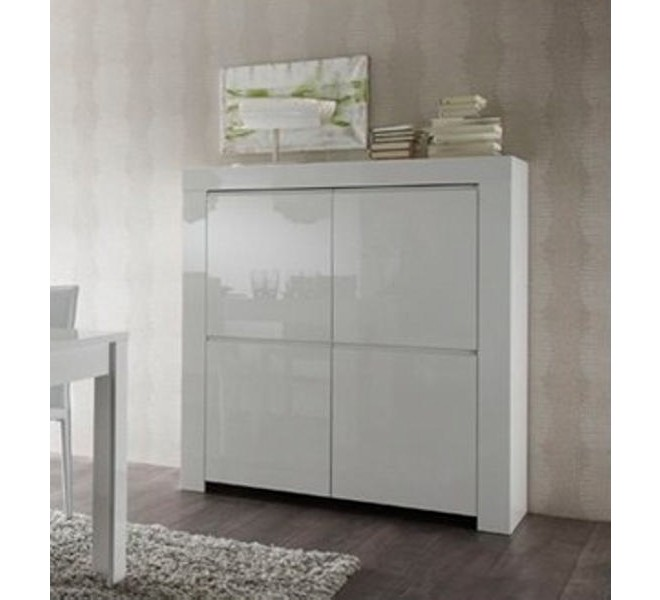meuble de rangement moderne blanc laqu 4 portes trendy. Black Bedroom Furniture Sets. Home Design Ideas