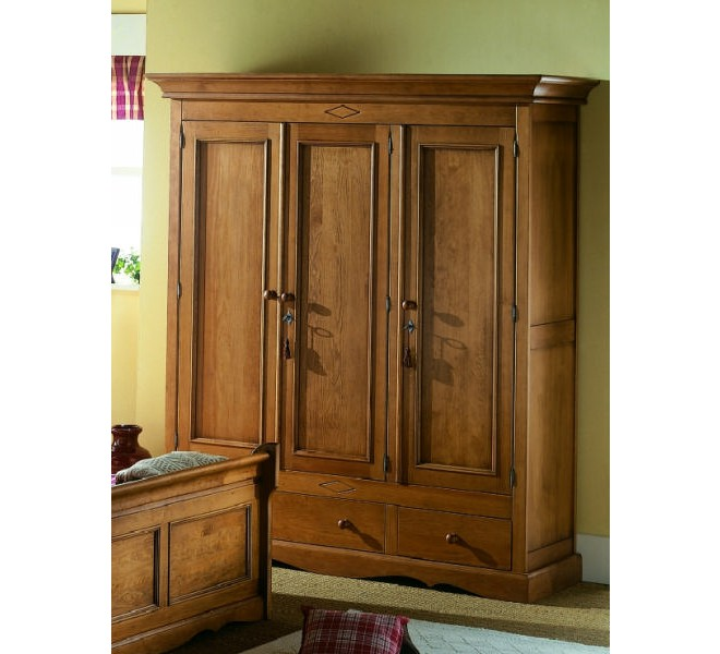 Armoire pin massif 3 portes cottage 3069 for Armoire pin massif