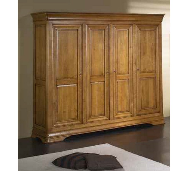 armoire 4 portes merisier 4096. Black Bedroom Furniture Sets. Home Design Ideas