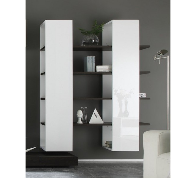 biblioth que murale laqu blanc et wengh new box 6477. Black Bedroom Furniture Sets. Home Design Ideas